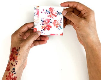 Fake Floral Tattoo. Temporary Tattoos. Bohemian Tattoo. Small Tattoo Set. Floral Watercolor Tattoo. Flower Tattoo Art. Gift for her under 10
