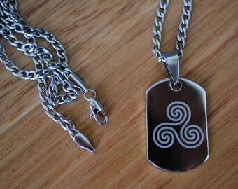Triskelion Necklace, Celtic Triskele Symbol Pendant, Steel Dog Tag Necklace, Personalised Men's Jewelry, Customised Engraved Birthday Gift