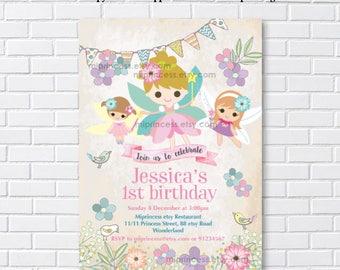 Fairy invitation, Fairy Birthday Invitation ,  girl 1st birthday chalkboard tutu, 1st 2nd 3rd 4th 5th 6th 7th 8th 9th 10th - card 979