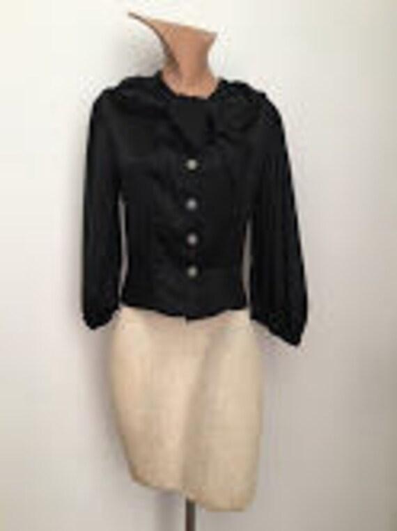 1930s Black Silk Blouse glass buttons