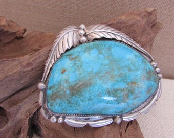 Vintage 70s Turquoise Belt Buckle   Large Oblong Turquoise Buckle   Sterling Silver   Native American   Hand Crafted, Boho, Biker