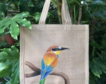 Bee Eater hand painted jute bag