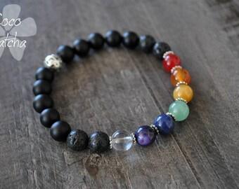 Bracelet - 7 chakras - Méditation - Yoga - Pierres naturelles - Coco Matcha