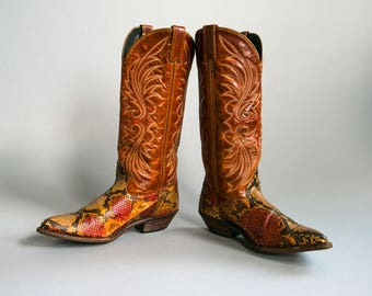 Vintage 1970's Snakeskin and Leather Embroidered Cowboy Boots/ Women's Size 7 1/2 US/ Made by Code West in the USA