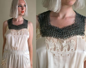 Vintage Metal Chain Link Necklace / Chain Link Collar / Antique Steampunk / Jewelry Antique