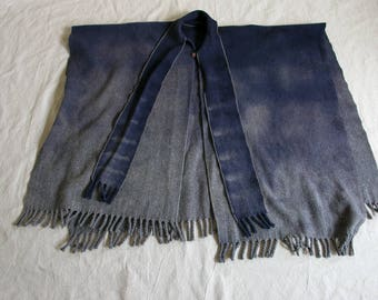 Vintage Hand Dyed Thick Wool Fringe Mexican Cape/ Poncho/ Serape Unisex Adults, Rustic Southwest, Organic
