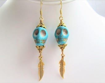 Turquoise Skull and Gold Feather Earrings, Boho Chic, Festival Jewelry, Bohemain Style
