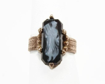 14K Gold Victorian Hardstone Cameo Ring, Size 5, Antique Gold Ring, Estate Jewelry, Roman Figure, Rose Gold, Antique Jewelry