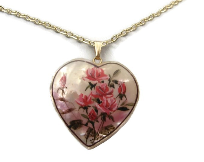 Vintage 14K Hand Painted MOP Heart Pendant from Hawaii