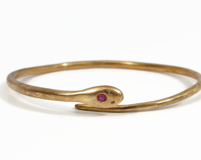 Victorian Rolled Gold Ruby Snake Bypass Bracelet