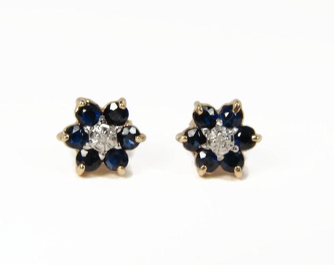 10k Gold Sapphire Diamond Flower Earrings