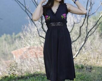 Black cotton dress, V-neck dress, Knee length dress, Midi dress, Sleeveless dress, Summer dress women
