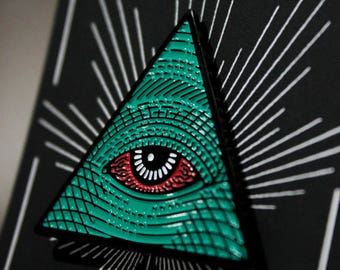 All Seeing Eye Pin - lapel pin, pin, enamel, illuminati, all seeing high, pyramid, patches, accessories, flair, brooch, pot, weed, marijuana