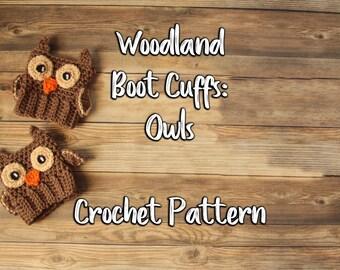 Woodland Animals Owls Boot Cuffs / Boot Cuff Pattern / Crochet Boot Cuffs / Boot Cuff Socks - Crochet Pattern