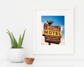 Stars Motel Sign Print | Chicago Art | Mid Century Modern Art | Neon Sign Art | Chicago Wall Art | Retro Wall Art | Chicago Wall Decor