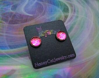 "Glass Opalite Earrings, Pink Mermaid  Glass Opalite Stainless Steel Stud Earrings 10mm / 0.39"""