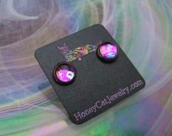 """Glass Opalite Earrings, Iridescent Purple Spotted Glass Opal Gunmetal Stud Earrings 10mm / 0.39"""""""