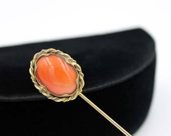 Edwardian Stick Pin with Coral Glass Cabochon, ca. 1900