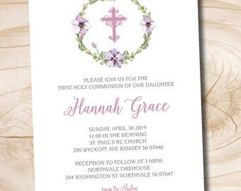 Purple Floral Wreath Baptism Christening Communion Invitation - Printable digital file or printed invitations