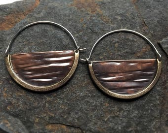 Mixed Metal Textured Hoop Earrings Ritual Remains Sterling Silver Mountain Jewelry Witchy Jewelry Autumn Hoops Fall Accessories Copper Brass