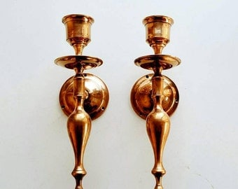 Vintage Solid Brass Wall Sconces - Modern Farmhouse Candle Holder - Wall Decor
