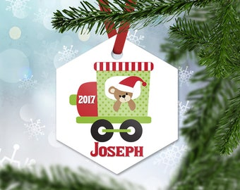 Personalized Christmas Ornament, Christmas Train with Teddy Bear 2017, Personalized Baby Boy Keepsake Ornament, Christmas Gift (004)