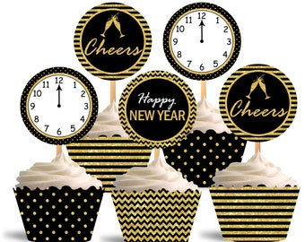 Happy New Year Cupcake Toppers, Printable Cupcake Toppers, New Year Theme Party Decorations - Instant Download - DP502