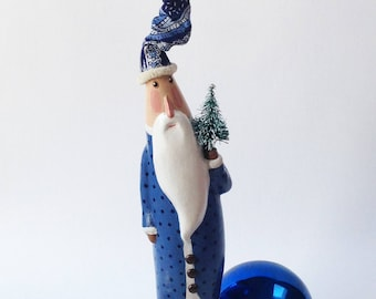 Primitive Folk Art Santa Vintage Style Blue with Navy dotsOOAK