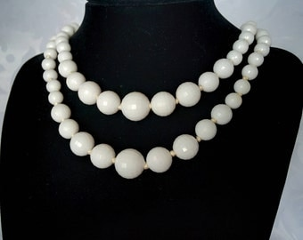 White Double Strand Necklace West Germany, West Germany, White Beaded Necklace