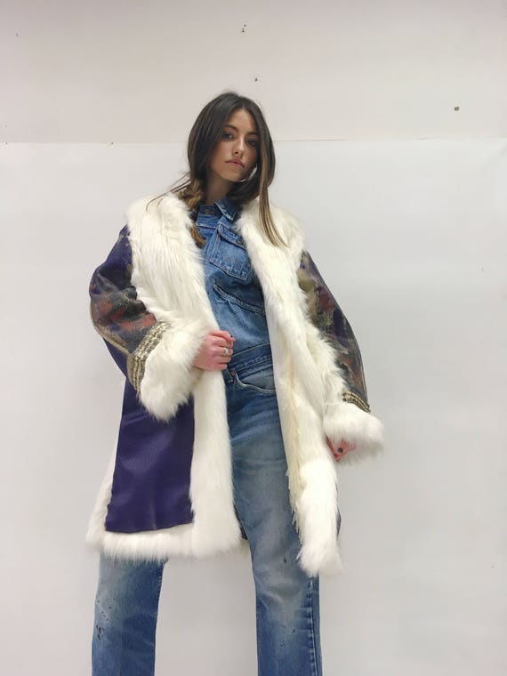 "White Eco Fur LOLA DARLING "" Mutazioni"" Faux Ecological Fur with a Deconstructed hand-dyed Dress Applied Handmade in Italy Unique Reversible"