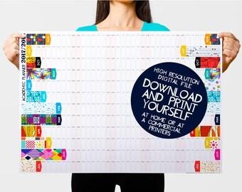 2017 2018 Planner, Academic Calendar, College Calendar, Student Planner, Teacher Planner