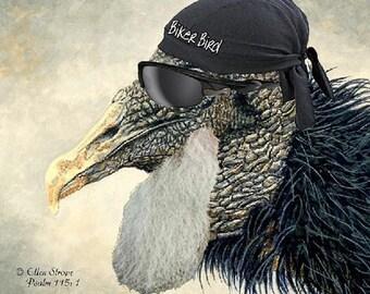 Black Vulture, 'Biker Bird', Birds, Bikers, Biker cards, Raptures, Note Cards, Cards, Blank Cards, Bird Art
