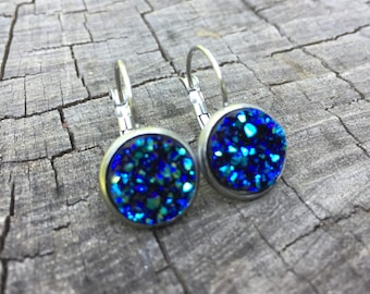 Peacock Blue Druzy Leverbacks . Earrings