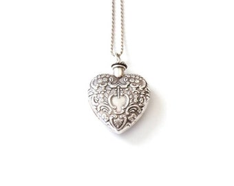 Vintage Silver Heart Vial Necklace . heart shaped vial pendant . perfume vial . sterling silver heart necklace . vintage empty vial necklace