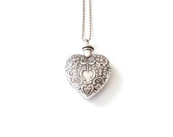 Vintage Silver Heart Vial Necklace . vial necklace . perfume vial neckace . sterling silver heart necklace . empty vial necklace