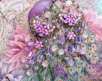 Fantasy Purple & Pink Flower Chandelier Earrings, Crystal Floral Bridal, Lavender Fantasy Swarovski Sparkly Aurora Borealis, Antique Violet