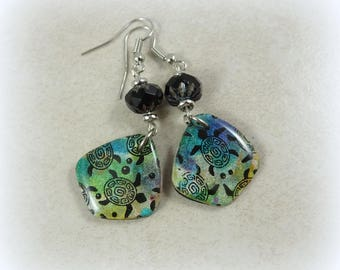 Colorful Artisan Turtle Theme Charm Earrings - Lightweight Earrings, Green Earrings, Turtle Earrings, Blue Green Turtle Charms