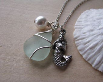 Sea Glass Jewelry Mermaid Charm Necklace in Sea Foam Green Aqua Beach Glass