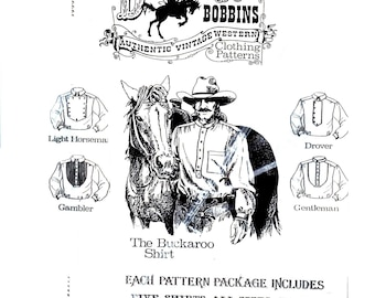 Mens Western Shirt Pattern, Casual Western Shirt Pattern, Western Dress Shirt Pattern, 5 versions, all sizes, Buckaroo Bobbins Pattern