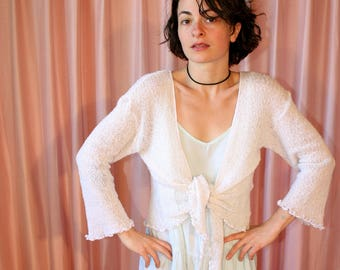 Sheer White Ruffled 90s Cardigan