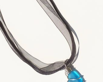 Carribean Blue Sea Glass Pedant Necklace