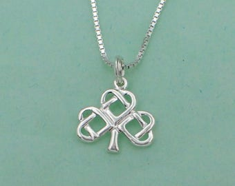 """Celtic Shamrock Pendant Necklace Sterling Silver Clover Charm 18"""" Box Chain"""