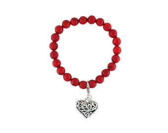 Pewter Filigree Heart Charm Bracelet Stretch Dyed Red Coral Beads