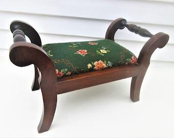 Vintage Wood Foot Stool | Wooden Footstool | Needlepoint Footstool | Upholstered Step Stool | Wood Ottoman | Foot Rest
