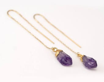 Raw Purple Amethyst Earrings - February Birthstone Earrings - Gold Ear Thread Long Earrings - Ear Threader Earrings - Minimal Jewelry
