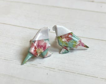 Origami Bird Earrings // Little Blue Floral Birdie