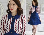 Vintage 1960s Mini Dress in Navy Blue Red and Cream Polyester and Knit by Staccato Size XS Petite