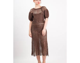 1930s crochet dress / Vintage open work knit with puffed sleeves / Balloon sleeves S M