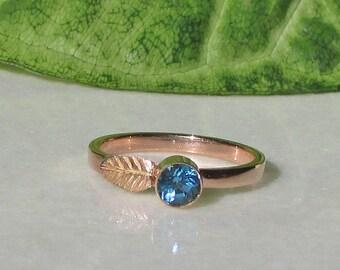Blue Topaz, 14k Rose Gold Stacking Ring, 14k Rose Gold Leaf Ring, November Birthstone, Gold Stacking Ring, Rose Gold Ring, 14k Gold Ring
