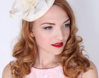 """Ivory Fascinator - """"Emelia Rose"""" Ivory Fascinator Hat Headband w/ Round Sinamay Base"""